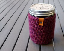 Pint + Half / 24oz Mason Jar Cover / Mason Jar Cozy / Mason Jar Sleeve / Wide Mouth Mason Jar - Isle Royale Burgundy Purple
