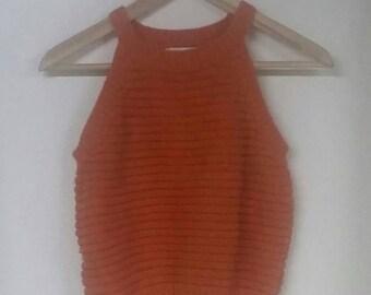 Orange crop top, size medium
