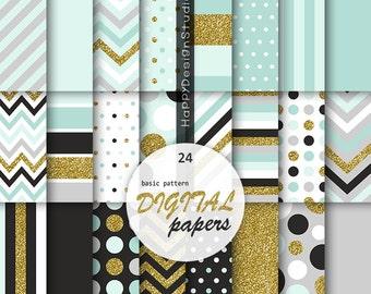 Mint & gold digital paper scrapbooking background pattern soft blue and glitter gold polka dot chevron stripe basic black gray papers