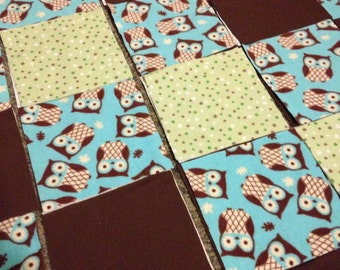 KIT or PRE-BUY Car Seat Cover/Canopy or Quilt - Teal, Brown and Green Owls Print - Cotton Flannel Rag Quilt