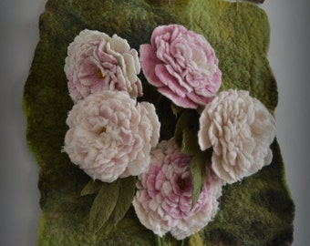 Felted picture 3D felted flower peonies