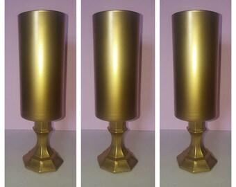 Set of 10 -Tall metallic gold wedding centerpieces, glass vase,gold vases,cylinder vases ,Wedding decor,centerpieces,Hand painted vase