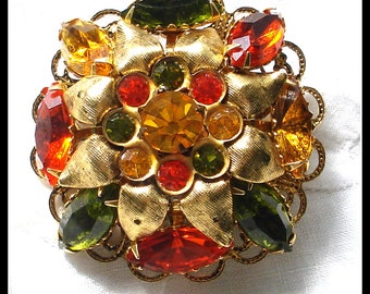 S A L E! COLORFUL RHINESTONE BROOCH Textured Leaves