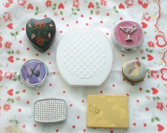 S A L E! 7 PIECE COMPACT LOT 4 Pill Boxes White 2 Mirror Wooden Box Elgin Powder
