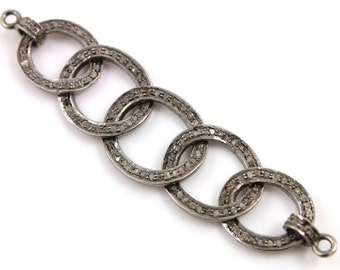 "Victorian Pave Diamond Chain Connector Charm, single cut one side diamond  Appx 2.5"" Long 25% discount."