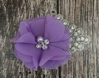 Lilac hair clip, flower girl hair clip, rhinestone hair clip, flower hair clip, alligator clip, wedding clip