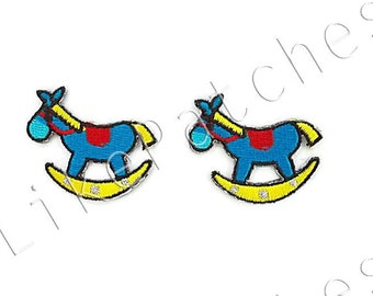 Set 2 pcs. Rocking Horse Blue Turquoise Color New Sew / Iron on Patch Embroidered Applique Size 3.9cm.x3.3cm.