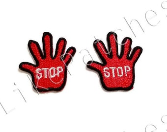 Set 2pcs. Stop Sign - Little Red Hand Stop New Sew on / Iron On Patch Embroidered Applique Size 3cm.x3.3cm.