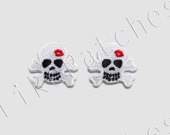 Set 2 pcs. White Skull Crossbone with Red lips Valentine Ghost Halloween New Sew / Iron On Patches Embroidery Applique Size 3.1cm.x2.9cm.