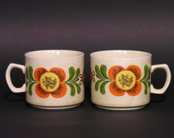 Weidmann Porcelain Coffee Mugs - Italian 70's Tableware - Made in Italy - 1970 - Floral Pattern Coffee Mugs - Collectible 70's Kitchenware