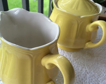 """Vintage """"Buttercup"""" Federalist Ironstone creamer and sugarbowl"""