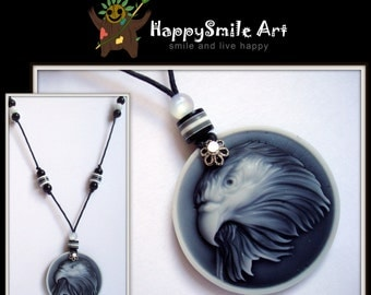 Handmade Jewelry Resin Eagle Black White Cameo Pendant Necklace Unique Gift For Her / HAPPY SALE