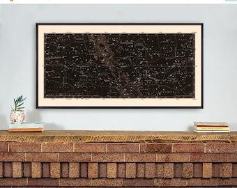 Star Map Print, Constellations Chart Print, Antique Large Horizontal Art Print