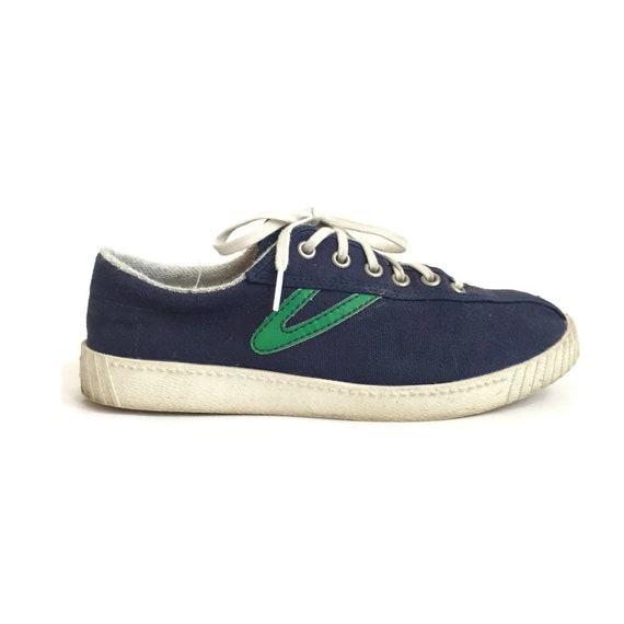vintage tretorn nylite navy blue and green sneakers size 8