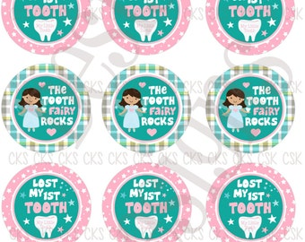 "1"" Digital Bottle Cap Sheet **INSTANT DOWNLOAD** Tooth Fairy"