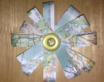 World Map Rosette Flower with button, Party Decorations, Bon Voyage, Wedding, Present bow