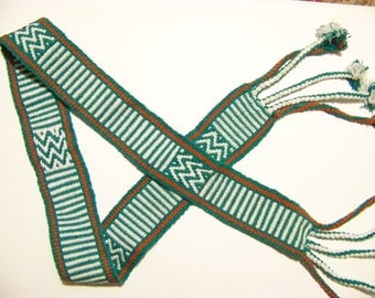 Tarahumara Woven Belt in Turquoise, Red, and White