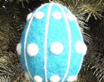 Easter  Egg Needle Felted Wool In Bright Turquoise