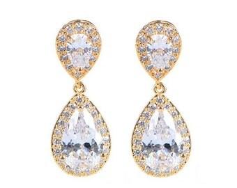 Gold plated diamond teardrop earrings, bridesmaid earrings, cubic zirconia earrings ,bridal jewelry
