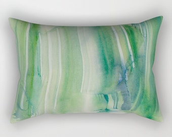 Rectangular pillow cover with fine art print, shades of green, blue, sea colors. Pastel stripes