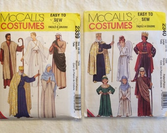 Set of 2 McCall's Patterns # 2339 & 2340, Adult and Child's Nativity Costumes, Uncut