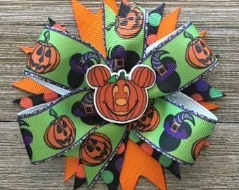 Halloween Mickey Bow, Purple and Green Halloween bow