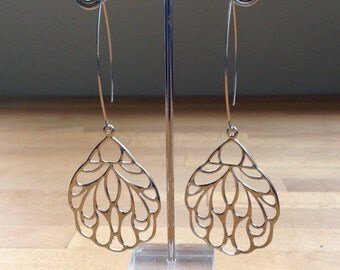 Long silver insect wing earrings