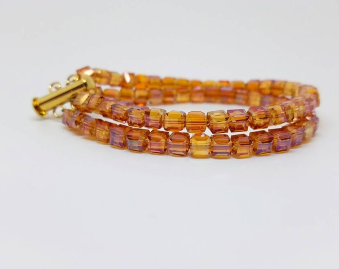 Orange shiny bracelet, cube orange bracelet, double strand orange, double strand arm, cube bracelet, orange crystal cube bracelet