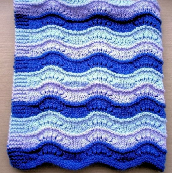 KNITTING PATTERN Pdf, Lace New Wave Blanket Or Throw