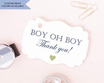 Boy oh boy baby shower tags (30) - Boy baby shower tags - Baby boy tags - Baby shower thank you tags