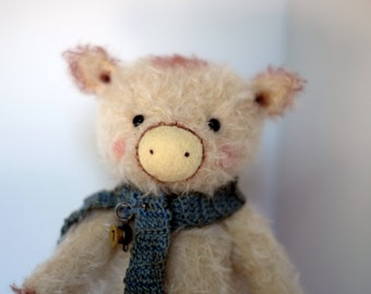 Off-White Pig with Crocheted Scarf