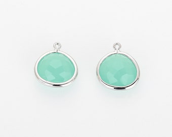 Ice Mint Glass Frame Pendant  Polished Rhodium -Plated - 2 Pieces [G0178-PRIM]
