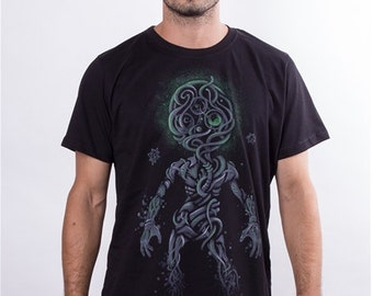 Men's Psychedelic Tee Sacred Geometry Hand Screen Printed T-Shirt, Festival Wear
