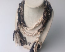 Brown yarn Scarf, Long Skinny Boho Scarf Necklace, Cream Ribbon Yarn Belt for her, Gift for Coworker, Boho Headband, Bohemian Sparkly Scarf