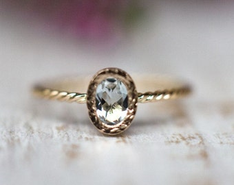 Aquamarine engagement ring in 14k Rose Gold, Rose Gold Jewelry, Natural Gemstone Engagement Ring, March birthstone engagement ring