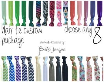 8 Mix + Match Hair Ties, Custom Mix, Pick 8 Stretchy Hair Ties, Ponytail, Stretch Bracelets, Hair Elastics, Chevron, 8 Elastic Ties (HR-10)