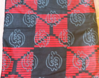 Gye Nyame Black & Red Wax Print Fabric