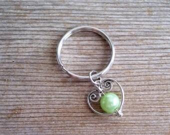 Heart Keychain, Filigree Silver Heart Key Chain, Sweetheart Keychain, Light Green Pearl Bead, Pearl Heart Key Ring