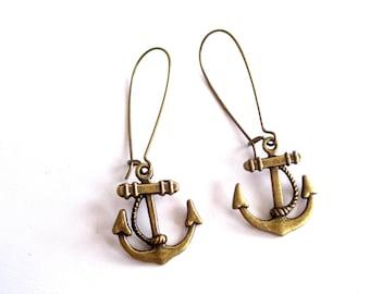 Anchor Earrings, Nautical Earrings, Antiqued Brass Anchor Earrings, Beach Jewelry, Sailor Earrings, Anchor Jewelry, Pierced Earrings