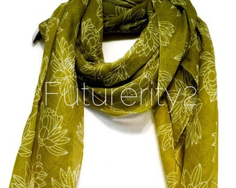 Lotus Flower Olive Green Spring Scarf / Summer Scarf / Autumn Scarf / Gift Ideas / Women Scarves / Fashion Accessories