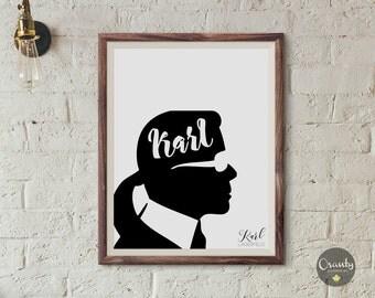 Lagerfeld printable art, karl lagerfeld portrait, karl who printable, fashion art print, fashion illustration, fashion wall art, fashion art