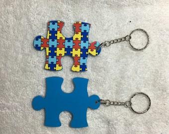 Autism Puzzle Piece Personalized Acrylic Keychain