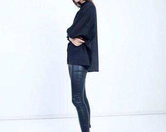 winter sale 20% off Black Leather Look Leggings - Black faux leather tights - fashion pants - black trendy leggings
