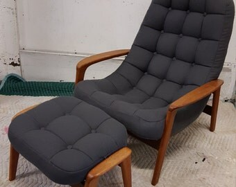 Danish tufted lounge chair and ottoman with teak frames, 1960s reupholstered