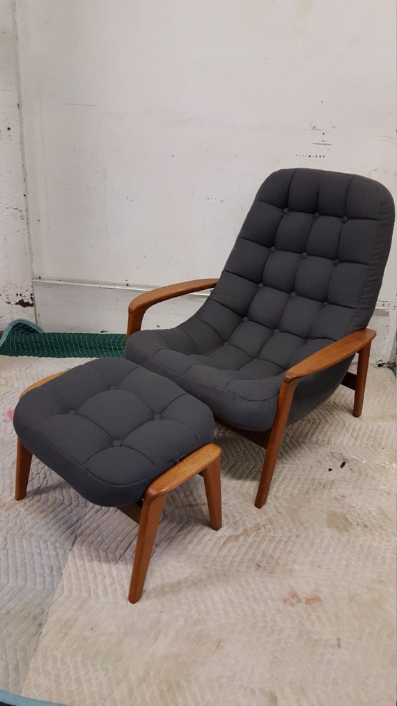 danish tufted lounge chair and ottoman