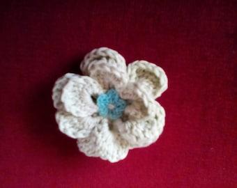 Green Crocheted Flower Brooch