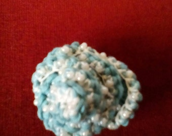Green Beaded Crocheted Rose Brooch