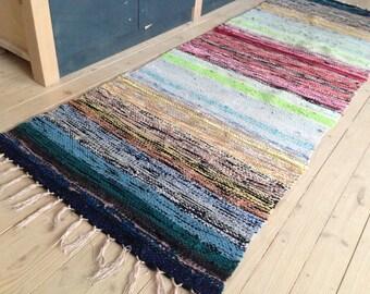 Swedish Vintage long Rag rug Woven rag rug Striped multicolored striped rug Woven Scandinavian handmade rug