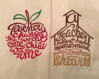 Set of 2 Teacher Kitchen Towel machine embroidered flour sack tea towels Ready to ship