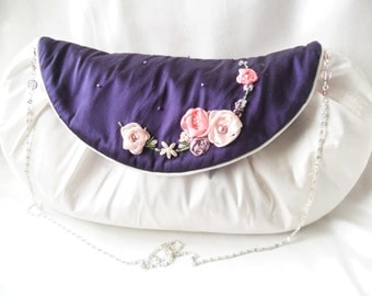 Silk evening/wedding bag in ivory and purple. Occasion bag.